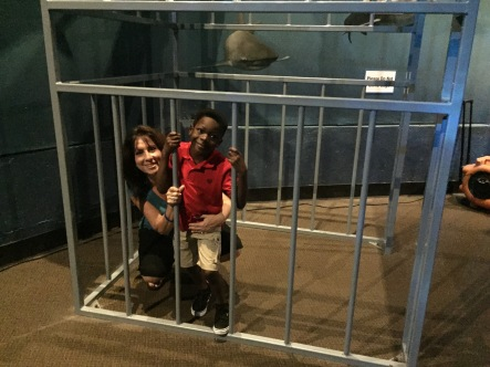 In a shark cage with Mommy
