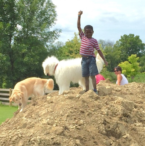 The kids spent a day playing in the dirt pile made by the pool prep. Nolan was so proud of himself when he climbed to the top of this he pile.