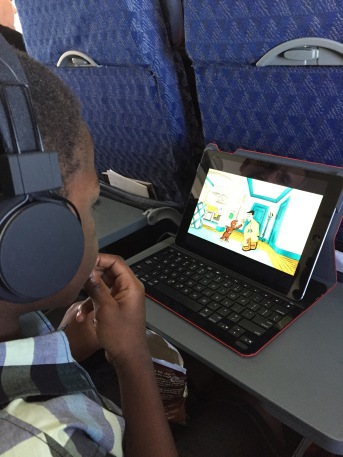 Curious George saved the day during the longer of our two flights