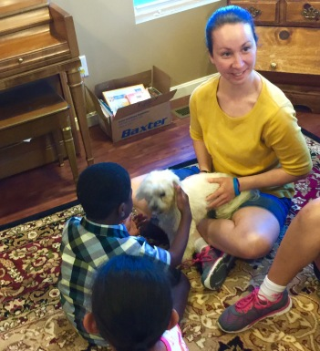 Nolan meeting Erin's dog, Teddy