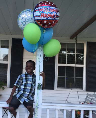 Welcome home balloons for our boy