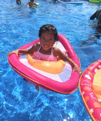 Lillian's first time in her new Make-a-Wish pool