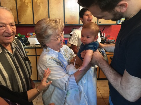 My parents meeting Allan's son Keller for the first time.