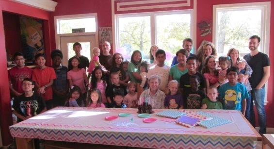 All grands, spouses, and great-grands together in one place for a special day