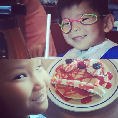 An awesome brunch at IHOP that included free Scary Face pancakes for all of the kids, and Wiki Stix with their kids' menus.